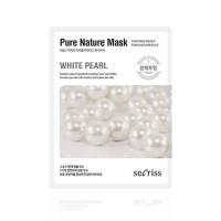 Anskin Маска для лица тканевая с жемчугом Secriss Pure Nature Mask Pack White Pearl, 25 гр