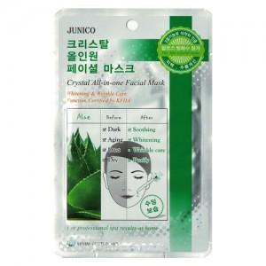 Mijin Маска тканевая с алоэ Junico Crystal All-In-One Facial Mask Aloe, 25 гр
