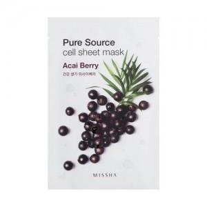 Missha Тканевая маска с экстрактом ягод асаи Pure Source Cell Sheet Mask Acai Berry, 21 гр