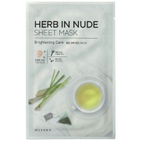 Missha Тканевая маска для лица осветляющая Herb In Nude Sheet Mask Brightening Care, 23 гр